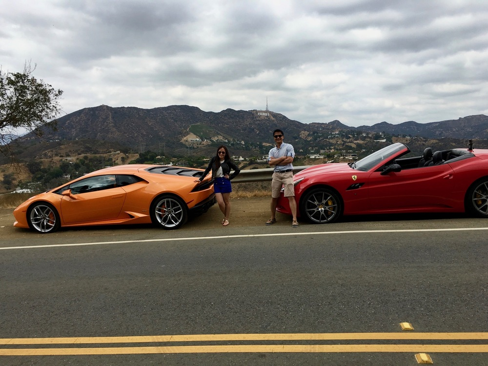 Lamborghini and Ferrari race to Hollywood sign